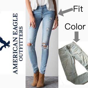 American Eagle Skinny super stretch light jeans 6